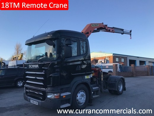 2006 scania r420 4x2 tractor unit with 18tm remote crane for sale