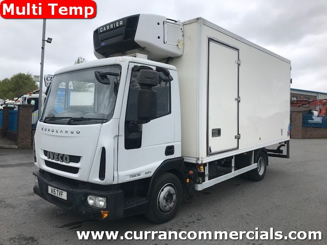 2010 iveco 75e16 7.5 ton multi temp fridge with tail lift