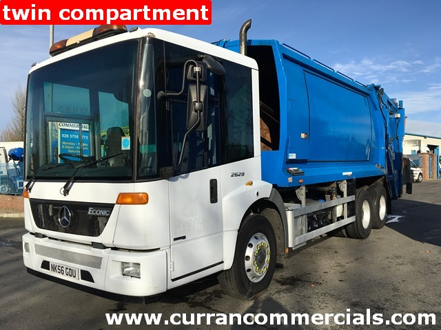 2007 Mercedes 2629 split compartment Refuse lorry 6x2 26 ton Auto low kms!