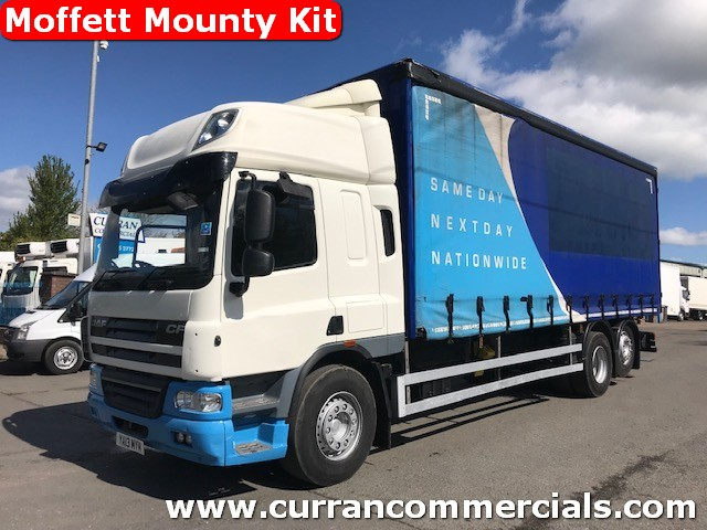 2013 daf cf 75 360 space cab 6x2 curtainsider with moffet mounty kit
