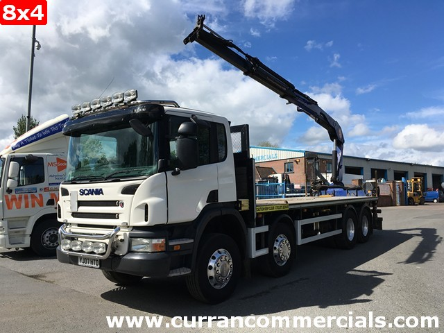 2007 Scania P340 8X4 32 Ton with 19tm PM crane 25FT Flat