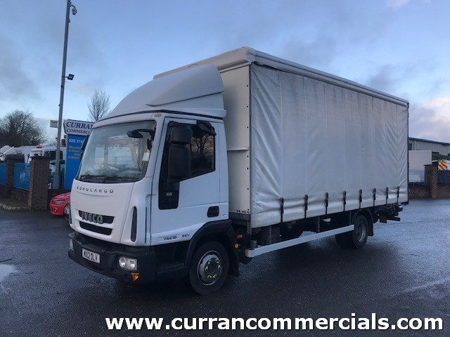 2012 iveco eurocargo 75e16 7.5 ton 20ft curtainside with tuck away tail lift