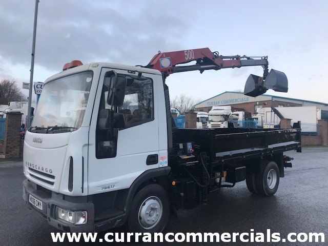 2006 iveco 75e17 7.5ton tipper with grab crane