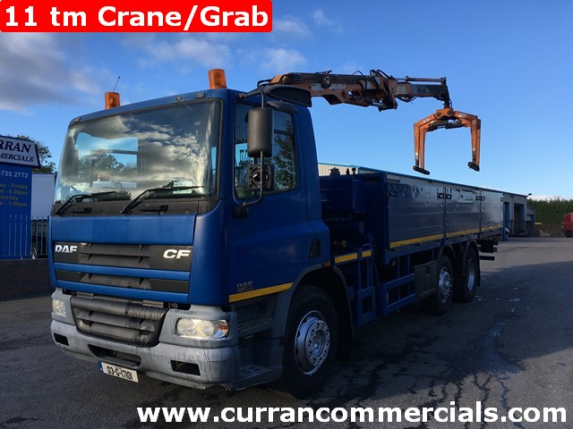 2003 Daf CF 65 250 26 Ton 6x2 MID lift, 22ft dropside Flat, 11TM Crane+Grab