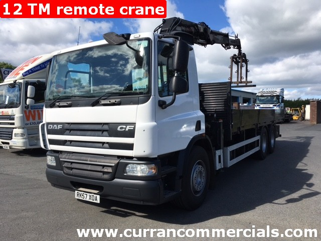 2007 Daf CF 75 310 26 Ton 6x2 24ft Flat With 12TM atlas Remote Hiab Crane+ GRAB