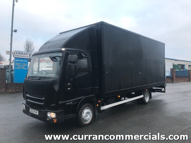 2013 iveco 75e16 euro 5 7.5 ton 20ft grp box with tail lift