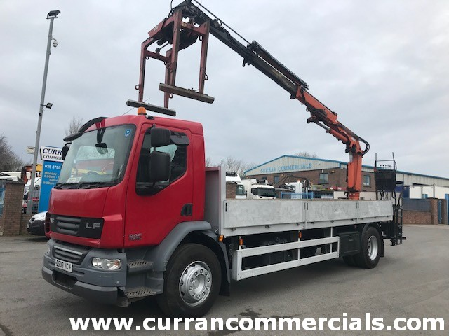 2008 daf lf 55 220 18 ton flat with 10tm crane for sale