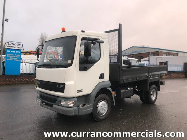 2005 daf lf 45 150 7.5 ton 13ft insulated dropside tipper with tow hitch for sale