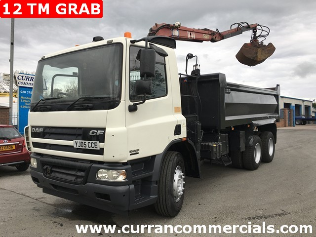 2005 Daf Cf 75.310 6x4 26 ton tipper 12 tm HMF crane + grab Low Kms!