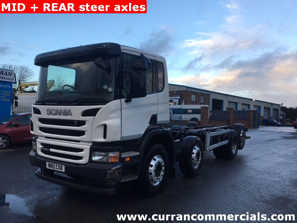 2012 12 Scania P380 8X2 32 ton chassis cab mid and rear steer, rear lift euro 5