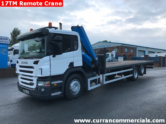 2005 scania p310 6x2 flat with 17tm remote crane