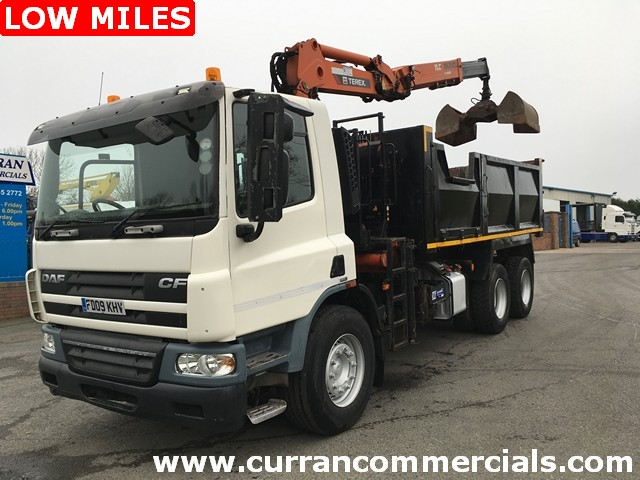 2009 Daf Cf 75.310 6x4 26 ton tipper + 18 tm atlas crane + grab low miles!