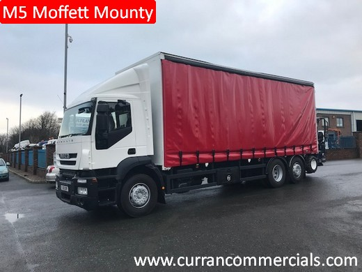 2008 iveco stralis 310 6x2 curtainsider with m5 moffett mounty fork lift
