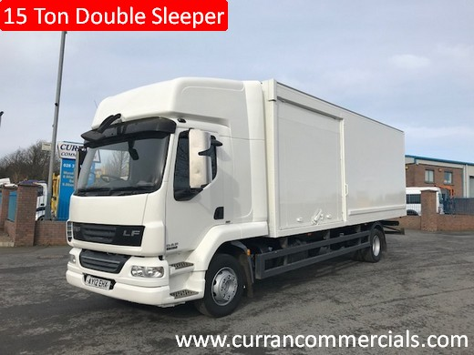 2012 daf lf 55 180 15 ton double sleeper cab 24ft box with side doors