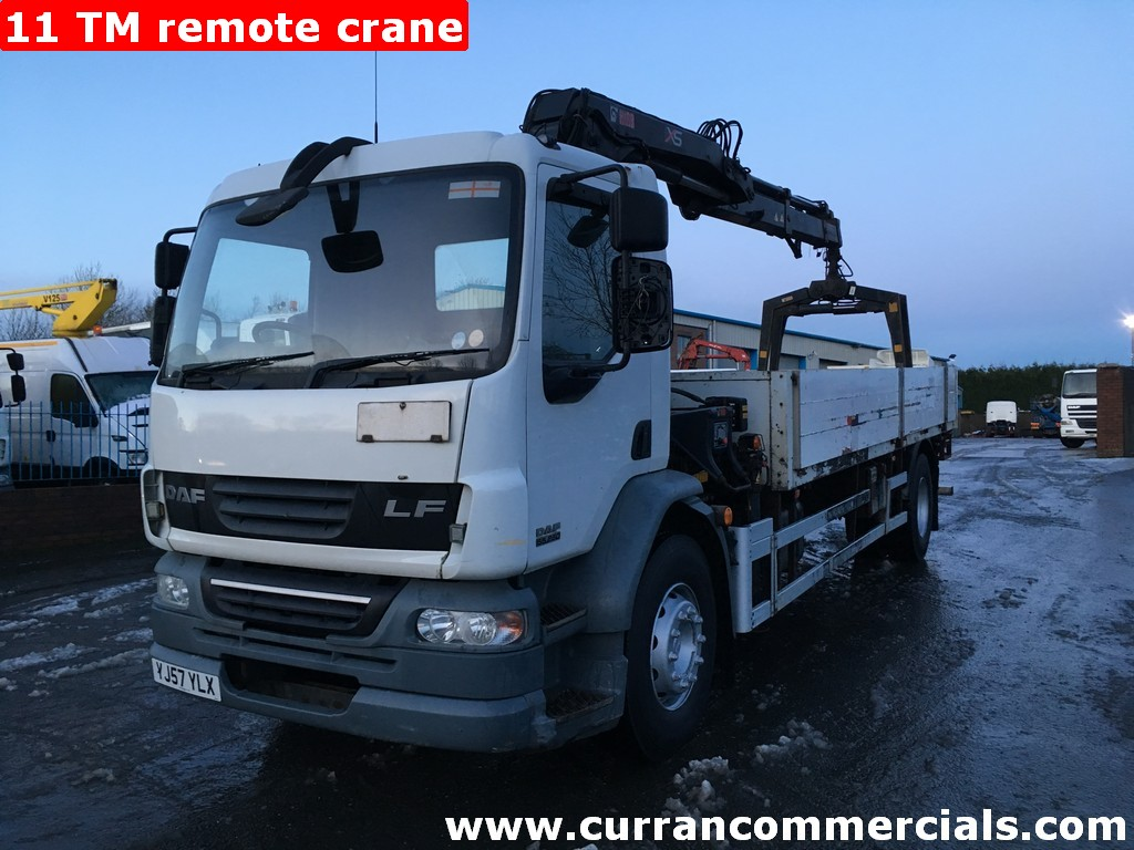 2008 Daf LF 55 250 18 Ton 4x2 20ft dropside Flat, 11TM remote Crane+Grab