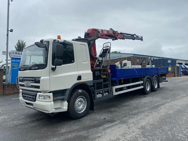 2008 daf cf 75 310 6x2 26 ton 26ft dropside flat with 14tm crane
