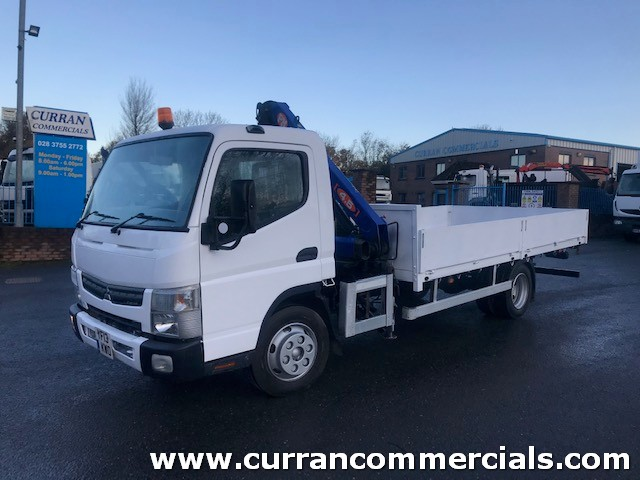 2013 mitsubushi canter 7c15 7.5 ton 16ft dropside flat with crane