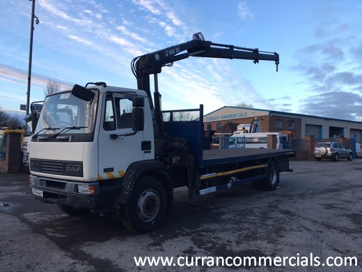 2000 daf 55 220 18 ton flat with crane for sale