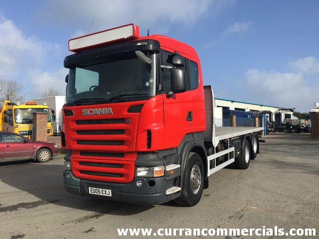 2005 Scania R 420 6X2 26 Ton rear lift axle, 23ft flat, drag hitch