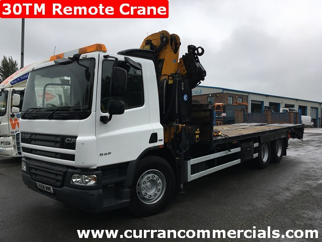 2008 daf cf 75 310 6x2 wedged beavertail with 30tm crane for sale